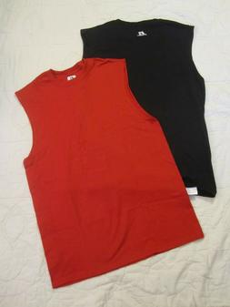 2 NWOT RUSSELL ATHLETIC SLEEVELESS T-SHIRTS BLACK AND RED SI