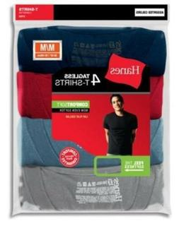 4-Pack Hanes Men's TAGLESS Dyed Cotton Crewneck T-Shirts- As