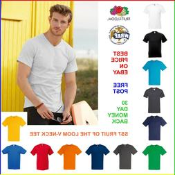 6 x MENS V-NECK T-SHIRT Fruit of the Loom VALUEWEIGHT TEE: 1
