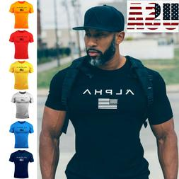 ALPHA Gym Men Muscle Fitness Cotton Fit Tee Workout T-Shirt