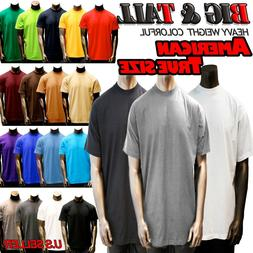 Big and Tall Size Men Plain Heavy Weight  S/S T-shirts Crew