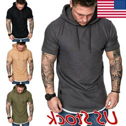 Fashion Men/'s Slim Fit Solid hooded Hoodie Short Sleeve Casual T-Shirt Tops