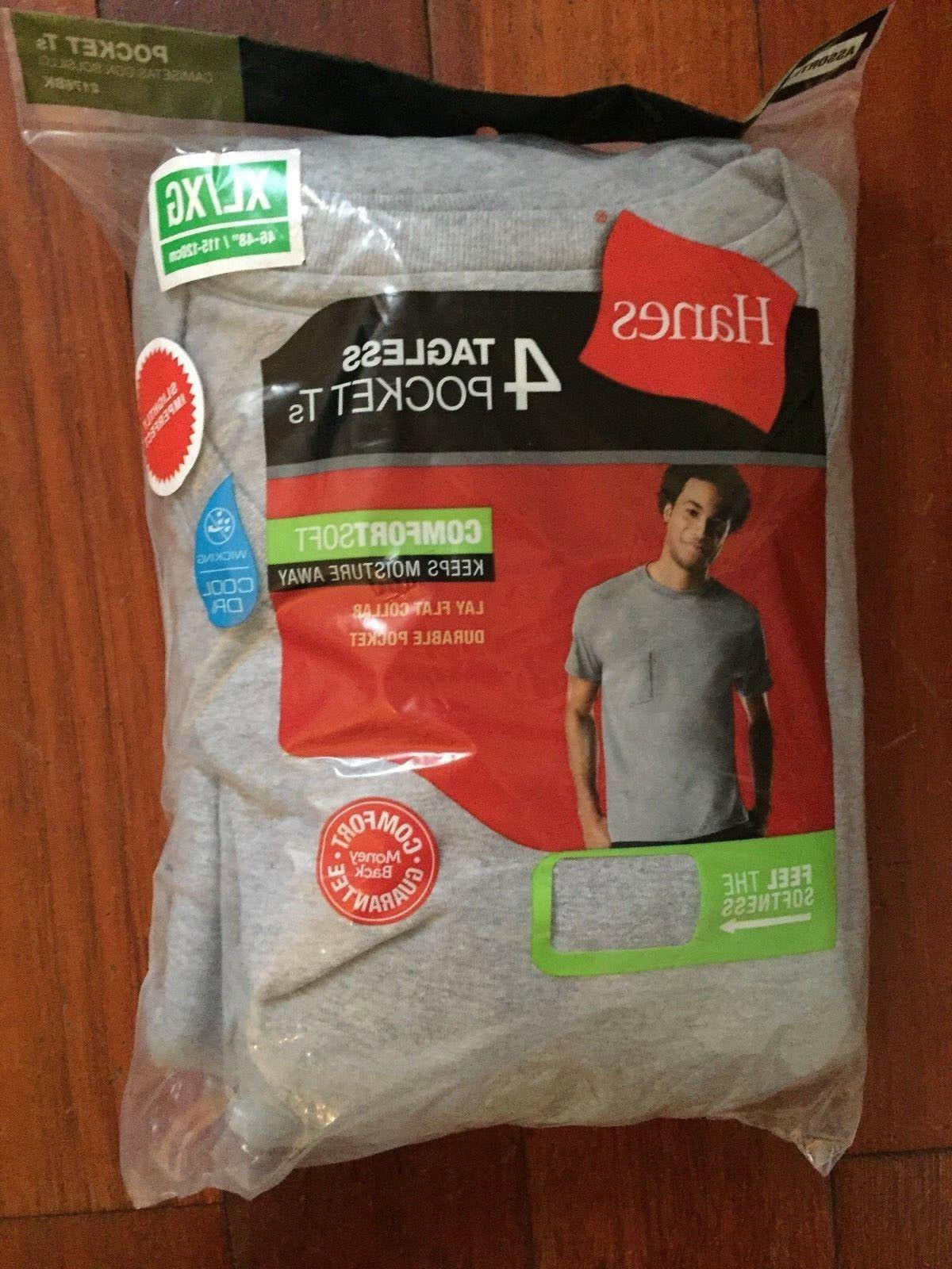 4 Pack Hanes Mens Pocket S - your Size