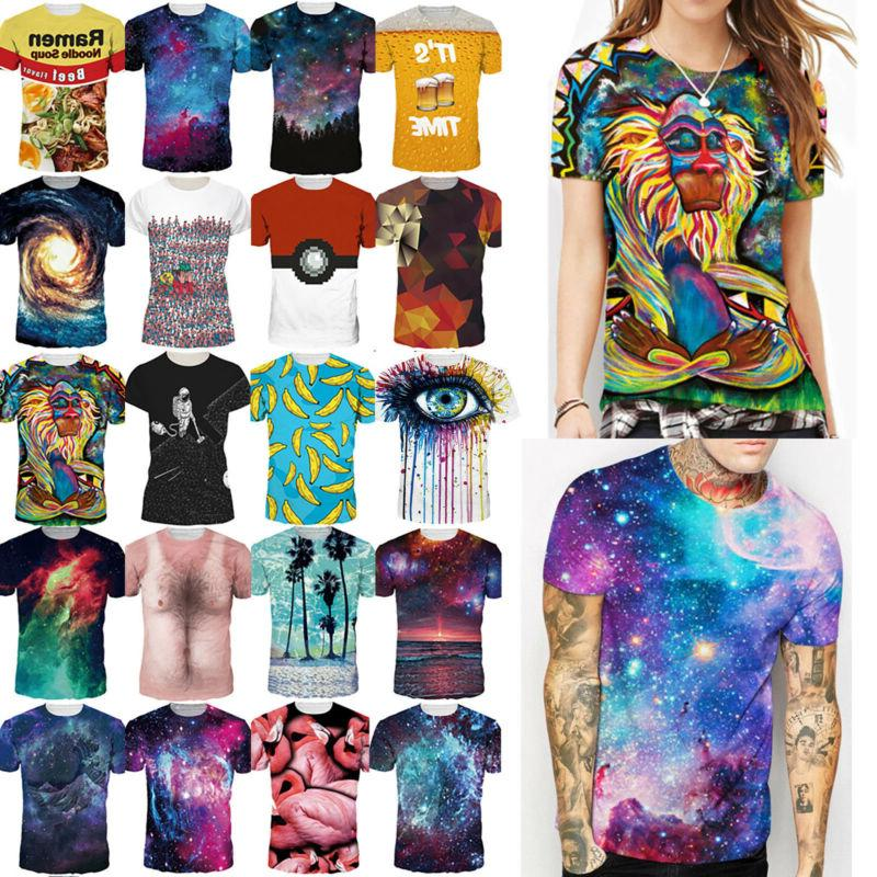 mens womens casual 3d print graphic t