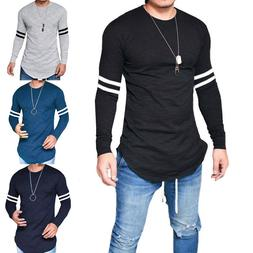 Men Casual Long Sleeve T-Shirt Relaxed Fit Slim Muscle Crew