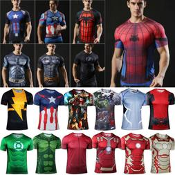 Mens Compression Short Sleeve T-Shirt Gym Sport Fitness Jers