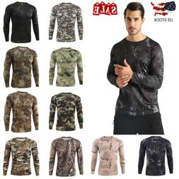 Men's Long Sleeve Camouflage Fitness Quick Dry  Running T Sh
