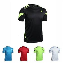 Men's Short Sleeve T-Shirt Quick Dry Soccer Sports Running W