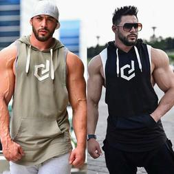 Men Sleeveless Hoodie Hooded Workout Gym Training Tank Top R