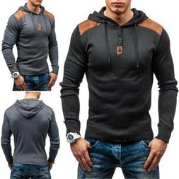 Mens Buttons Color Block Hooded Hoodies Pullover T-shirt Ath