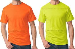 MENS T-Shirt Safety Yellow Green Orange Neon High Visibility