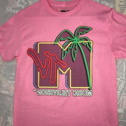 MTV Palm Tree Neon Logo T-Shirt Men's Size Small Official Pi