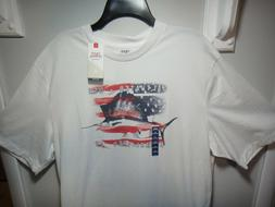 IZOD Saltwater Relaxed  Men's T-Shirt Red White Blue Sailfis